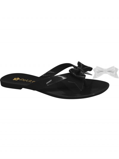 Black flip-flops exchangeable bow