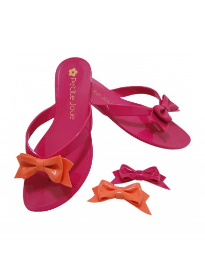 Pink flip-flops exchangeable bow 1