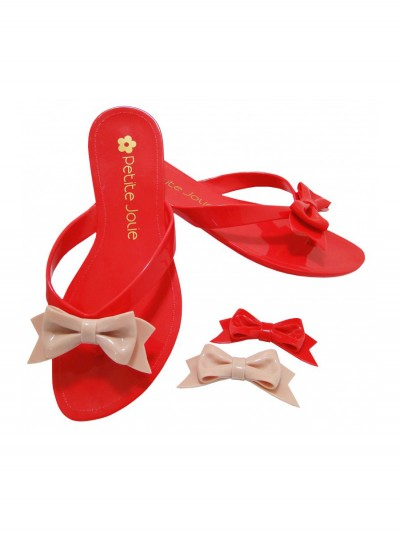 Red flip-flops exchangeable bow 1