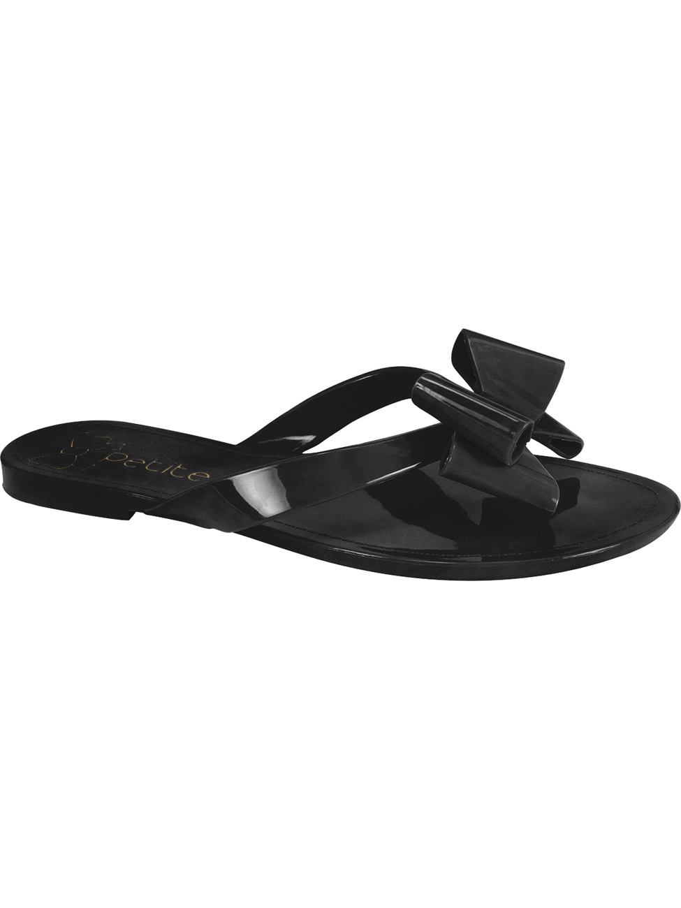 Black flip-flop with bow