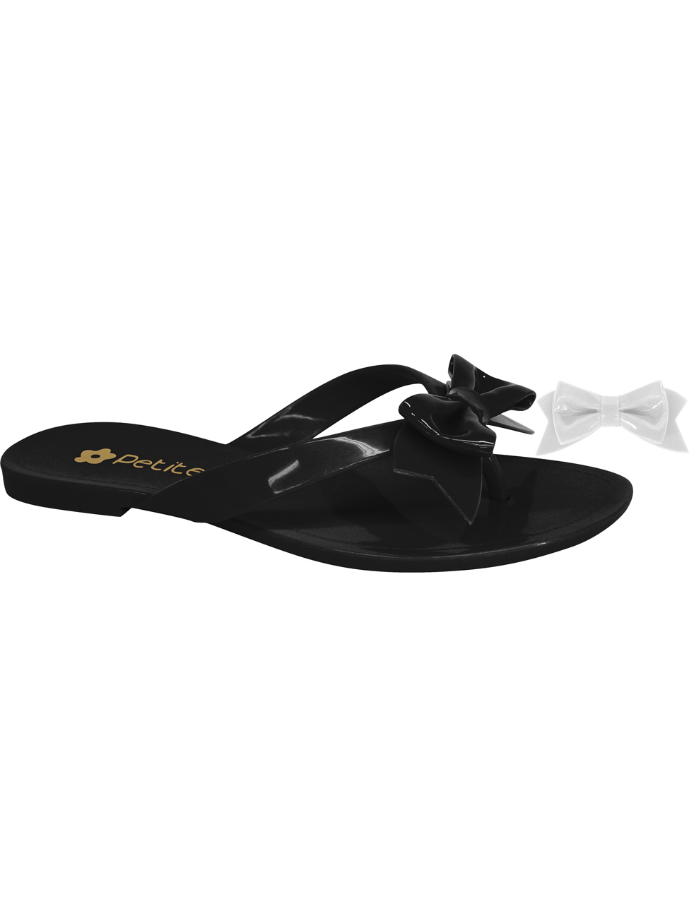 Black bow flip-flops with extra bow